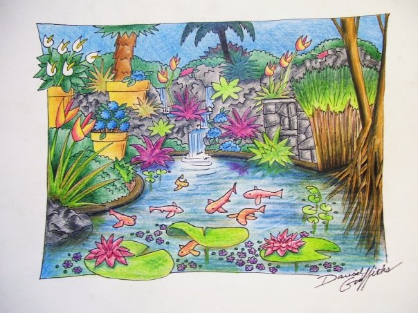 Koi pond drawing create the effect for Koi fish pond drawing